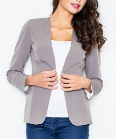 This FIGL Gray Collarless Open Blazer by FIGL is perfect! #zulilyfinds