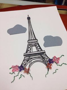 Quilling Art Eiffel Tower Paris framed 8x10 by jgaCreations