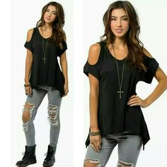 NEW! Fabulous Black Off The Shoulder Top Size S One of my personal favorites!   Black Off The Shoulder Top  Short Sleeve  Asymmetrical Hem  100% Polyester  Size Small  New in package   ▪ No Trades  ▪ Fast Shipping IT Ragazza  Tops Tunics