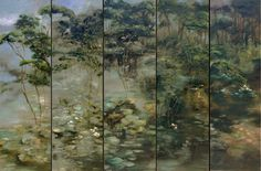 Claire Basler 's hand painted screen Claire Basler, Love Oil, Panel Art, Botanical Prints, Contemporary Paintings, Art Lessons, Watercolor Paintings, Art Projects, Illustration Art