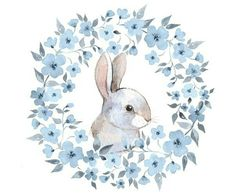 East Urban Home Ambesonne Watercolor Flower Shower Curtain, Bunny Rabbit Portrait In Floral Wreath Illustration Country Style, Cloth Fabric Bathroom D Floral Wreath Watercolor, Watercolor Flowers, Watercolor Art, Flower Shower Curtain, Bunny Art, Frame Wreath, Watercolor Illustration, Flower Wreath Illustration, Flower Decorations