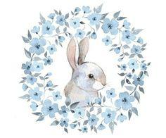 #акварель #рисунок #цветы #зайчик