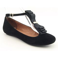 $104.99-$110.00 Jeffrey Campbell Celeste Womens SZ 6.5 Black Flats Ballet Shoes - Cute and classy, the delightful Celeste flats by Jeffrey Campbell are quite suitable for any girl's taste. These shoes feature a suede upper with an adjustable ankle strap and frilly detail at the instep for a touch of flirty charm. Soft leather lining and padding in the insole is cushioned for lightweight mobility.  ...