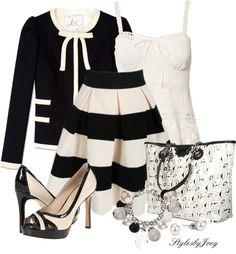"""Black Striped Skirt"" by stylesbyjoey on Polyvore"