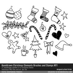 Handdrawn Christmas Elements Brushes and Stamps No. 01 whimsical handdrawn doodles of gingerbread ornaments stockings candy canes coffee and more in PNG and abr file format #designerdigitals