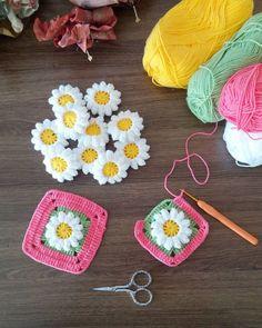 Yeni bi ie baladmne olacak benim bu bahar akm cicek sevdam mutlu haftasonlar ip alize happy baby t 2 5 mm Granny Square Häkelanleitung, Granny Square Crochet Pattern, Crochet Flower Patterns, Crochet Squares, Crochet Blanket Patterns, Double Crochet, Single Crochet, Crochet Flowers, Easy Crochet