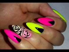 Neon Nails Semilac and Sugar Effect - YouTube