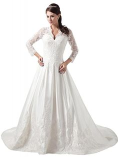 GEORGE BRIDE Charming ALine Long Sleeves Lace over Satin Court Train Wedding Dress Size 8 White -- Check out the image by visiting the link.(This is an Amazon affiliate link and I receive a commission for the sales)