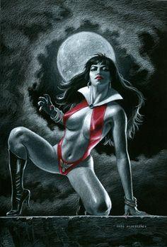 Vampirella - Black Board, Greg Hildebrandt Comic Book Artists, Comic Book Characters, Comic Books Art, Comic Art, Fictional Characters, Character Personality, Cat Cave, Horror Comics, Adam And Eve