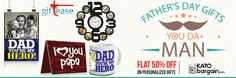 Flat 50% Off on Personalised gifts for Dad! #KaroBargain #FathersDay #SundayMorning #DadnMe  https://www.karobargain.com/category/fathers-day/237500