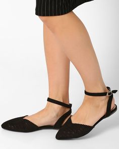 Buy BLACK MFT Couture Pointy-Toe Ballerinas with Cut-outs