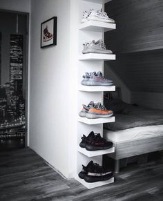 Are Yeezys Dead What Do You ThinkPick One Pair 1 2 3 4 5 or 6 ezcape dailystreetwearinspiration Room Ideas Bedroom, Bedroom Decor, Gamer Bedroom, Hypebeast Room, Shoe Room, Shoe Wall, Room Setup, Aesthetic Rooms, New Room