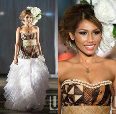 Perfect for an island wedding. Island Wedding Dresses, Polynesian Wedding, Traditional Wedding Attire, Island Wear, Tribal Designs, Polynesian Designs, Tonga, Different Dresses, Hula