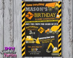 construction party invitations template in 2018 eli birthday