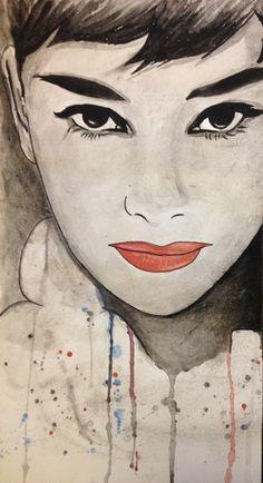 Audrey Hepburn watercolor Art Print