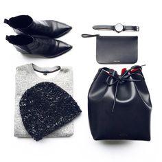 Fall Essentials. Mansur Gavriel   Bucket Bag, Acne Studios Jensen Boots. #flatlay - OVRSLO