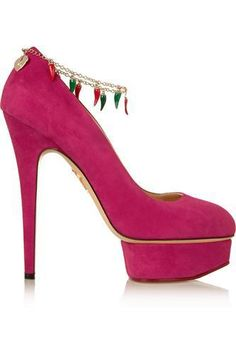 Hot Dolly embellished suede pumps #pumps #covetme #charlotteolympia