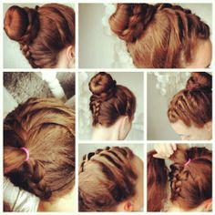 Three different types of braids and a bun.  Follow me on instagram: kirsti_marie84