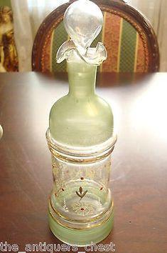 ANTIQUE-hand-painted-Art-Glass-BARBER-Bottle-CZECH-Bohemian-marked-18-a9