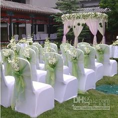 New Wedding Ceremony Chairs Flowers Simple 33 Ideas Outdoor Wedding Centerpieces, Wedding Reception Chairs, Church Wedding Decorations, Wedding Ceremony, Outdoor Ceremony, Reception Ideas, Church Decorations, Outdoor Decorations, Wedding Tables