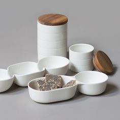"""A variety of practical bowls and jars in a simple, clean design,"" says Anna with a smile. Bowls, prices from DKK 18,80 / SEK 25,90 / NOK 24,40 / EUR 2,64 / ISK 442 / GBP 2.58"