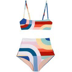 Meridian Cami Bikini found on Polyvore featuring swimwear, bikinis, high rise bikini bottoms, bikini two piece, colorblock bikini, high waisted bikini bottoms and high waisted two piece