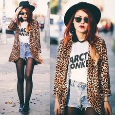 Image via We Heart It https://weheartit.com/entry/147355784 #alternative #arcticmonkeys #blazer #blogger #clothes #denimshorts #fashion #girl #hat #leopard #leopardprint #longhair #outfit #personalstyle #redhair #shoes #shorts #style #sunglasses #tee #luanna #lehappy #luannaperez