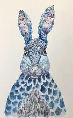 Blue Rabbit Watercolor Painting Millie Marotta Animal Kingdom Adult Coloring Book