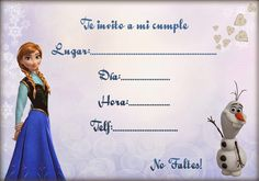 La mejor selección de invitaciones de Frozen para imprimir. Elige la que más te guste, imprime las copias que necesites en tu casa y listo!   Más en mi blog:   http://www.invitacionesde.com/invitaciones-de-cumpleanos/invitaciones-de-frozen-las-mejores/