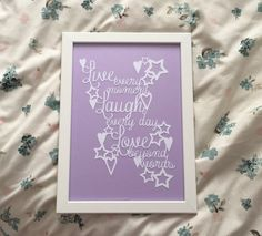 Live Every Moment, Laugh Every Day, Love Beyond Words - Framed Paper Cut with hearts and stars design