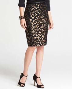 Bronze Animal Jacquard Skirt   Ann Taylor