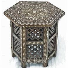 Mother of pearl Moroccan, Syrian and Levantine Furniture - Syrian Moroccan table hand-inlaid with mother of pearl.