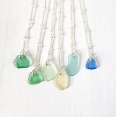 These little seaglass beauties hang on a 16 inch silver-plated brass satellite chain. Sea Glass Necklace, Sea Glass Jewelry, Pendant Necklace, Beach Jewelry, Silver Plate, Jewelery, Plating, Mountain, Brass