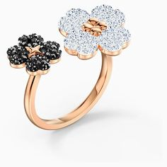 Latisha Ring, Black, Rose-gold tone plated | Swarovski.com Swarovski Gifts, Swarovski Ring, Swarovski Crystals, Black Rings, Casual Looks, Floral Design, Plating, Rose Gold, Fancy