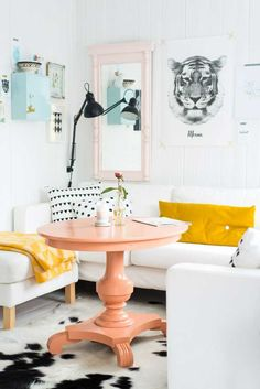 Sorbet color decor trend...  Peach, yellow, light blue, baby pink with black and white