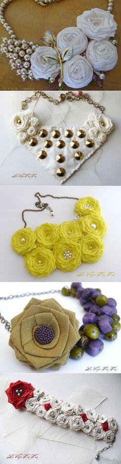 Для вдохновения: Биб ожерелья - Цветы из ткани.