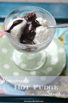 This Homemade Hot Fudge Sauce is a gift to chocolate lovers everywhere. Add a touch of kahlua for over the top gourmet flavoring. #chocolate #desserts