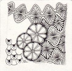 Ein Zentangle aus den Mustern Bow*Petal, Batumber, Owlz,  gezeichnet von Ela Rieger, CZT