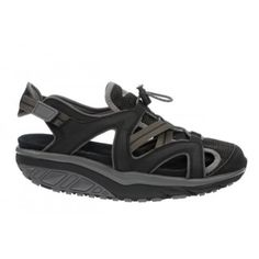 Women's Leasha Trail Sandal Black/Raven : Gravel, tree roots or rocks – nothing can stop you when you have these rugged sandals on. PU nubuck and mesh straps finished with a microfiber footbed, our signature MBT patented rocker sole and non-marking outsole.