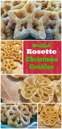 Easy Rosettes Cookie Recipe Easy Rosette Cookie Recipe from back when grandma used to make them. There are a few tips and tricks you need to know BEFORE making these holiday delights. VIDEO included to show the technique! Very helpful. Rosettes Cookie Recipe, Rosette Recipe, Rosette Cookies, Candy Cookies, Holiday Cookies, Holiday Treats, Holiday Recipes, Christmas Sweets, Christmas Cooking
