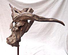Water Buffalo head driftwood sculpture by Tony Fredriksson www.openskywoodart.com