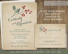 Rustic Winter Wedding Invitations Suite Holly Berries Handpainted Printable Stationery Set Digital File Christmas