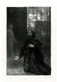 "Pière de Rienzi (1886), lithograph by Henri Fantin-Latour (1836-1904) [published in ""Richard Wagner: sa vie et ses œuvres"", facing page 50], from Act 5 of ""Rienzi, der Letzte der Tribunen"" (1840), by Richard Wagner (1813-1883)."