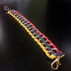 Venezuela Flag Chain Gold Leather Double Wrap Bracelet - SOS Venezuela - Show your Support!