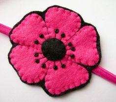 SALE Pink Poppy felt flower headband by lupin on Etsy, £5.00