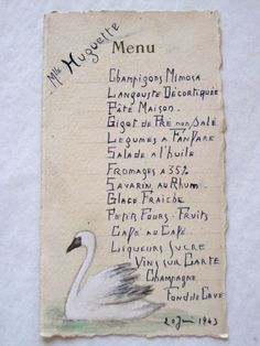 Original Vintage French Hand Painted & Hand Written Menu Dated 1943 by VintageFrenchFinds, $32.00
