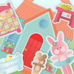 Paper Arts, SVG MTC Files, Silhouette Studio Files, Fabric Arts, Sewing Patterns, Craft Tu: Bitty Bunny's Pocketbook Playhouse Printables