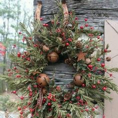 Beautiful. I have all the ingredients for this wreath (except the bells), in my yard. The Holly bush produced a bumper crop of berries.