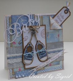 Card made bij DT member Sigrid with among other Creatables LR0304 My First Sneakers and LR0217 Eline's Text by Marianne Design
