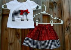Roll Tide Elephant Applique OUTFIT..... Houndstooth Elephant Onesie or Tee and Skirt. $31.00, via Etsy.